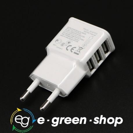 SPINA PARETE TRIPLA PORTA USB 5V CARICABATTERIE